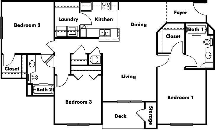 3 Bedrooms 2 Bathrooms Apartment for rent at Arbors At Cahaba River in Birmingham, AL