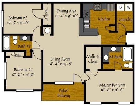 3 Bedrooms 2 Bathrooms Apartment for rent at Olde Raleigh in Raleigh, NC