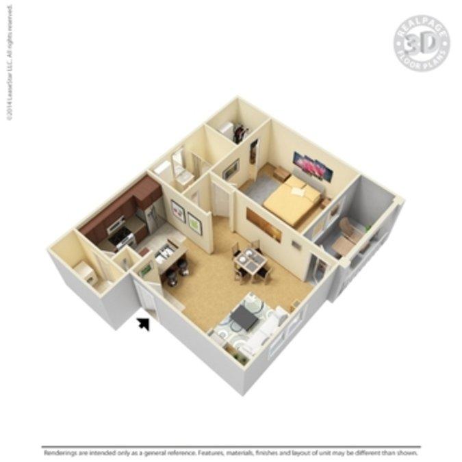 1 Bedroom 1 Bathroom Apartment for rent at Crown Ridge Apartments in San Antonio, TX