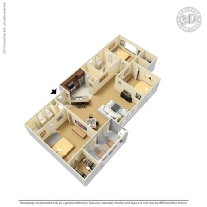 3 Bedrooms 2 Bathrooms Apartment for rent at Crown Ridge Apartments in San Antonio, TX