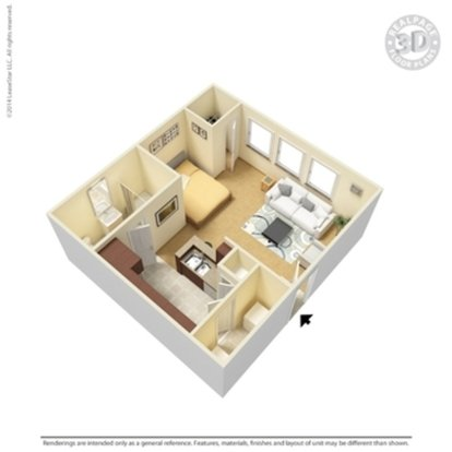 Studio 1 Bathroom Apartment for rent at Crown Ridge Apartments in San Antonio, TX