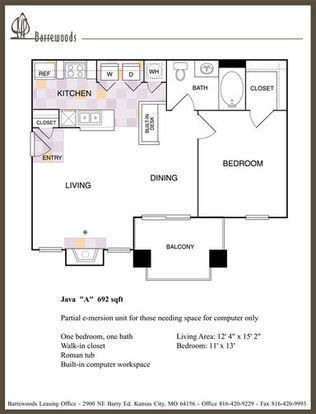 1 Bedroom 1 Bathroom Apartment for rent at Barrewoods Apartments in Kansas City, MO