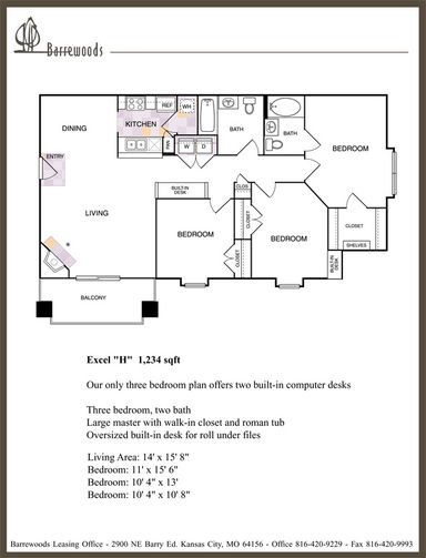 3 Bedrooms 2 Bathrooms Apartment for rent at Barrewoods Apartments in Kansas City, MO