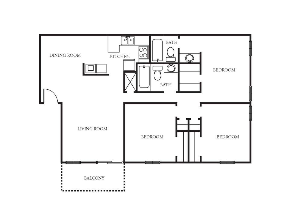 3 Bedrooms 2 Bathrooms Apartment for rent at The Reserve At Mt. Moriah in Memphis, TN