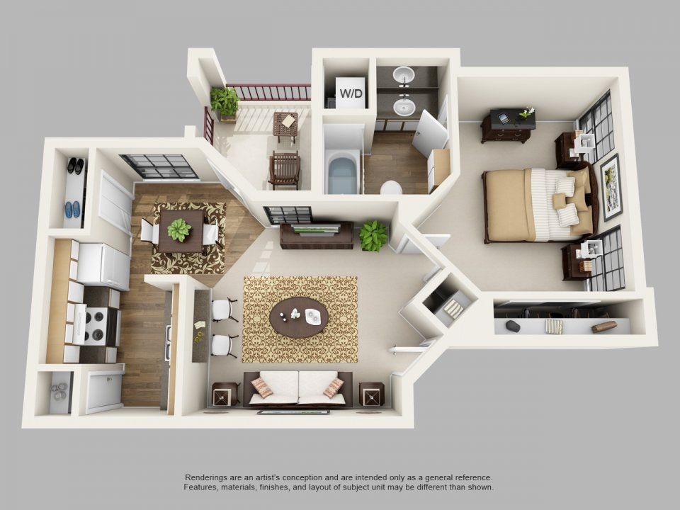 1 Bedroom 1 Bathroom Apartment for rent at Villas Of Henderson Pass in San Antonio, TX