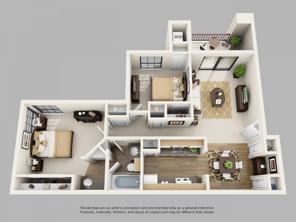 2 Bedrooms 1 Bathroom Apartment for rent at Villas Of Henderson Pass in San Antonio, TX