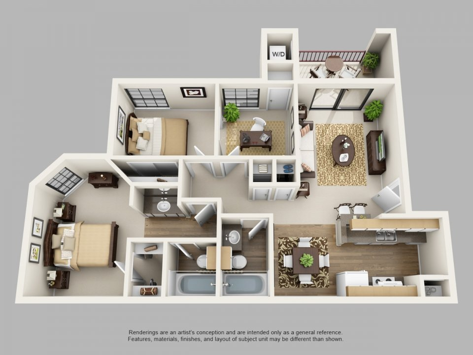 2 Bedrooms 2 Bathrooms Apartment for rent at Villas Of Henderson Pass in San Antonio, TX