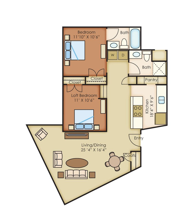 2 Bedrooms 2 Bathrooms Apartment for rent at The Cannery Lofts in Dayton, OH