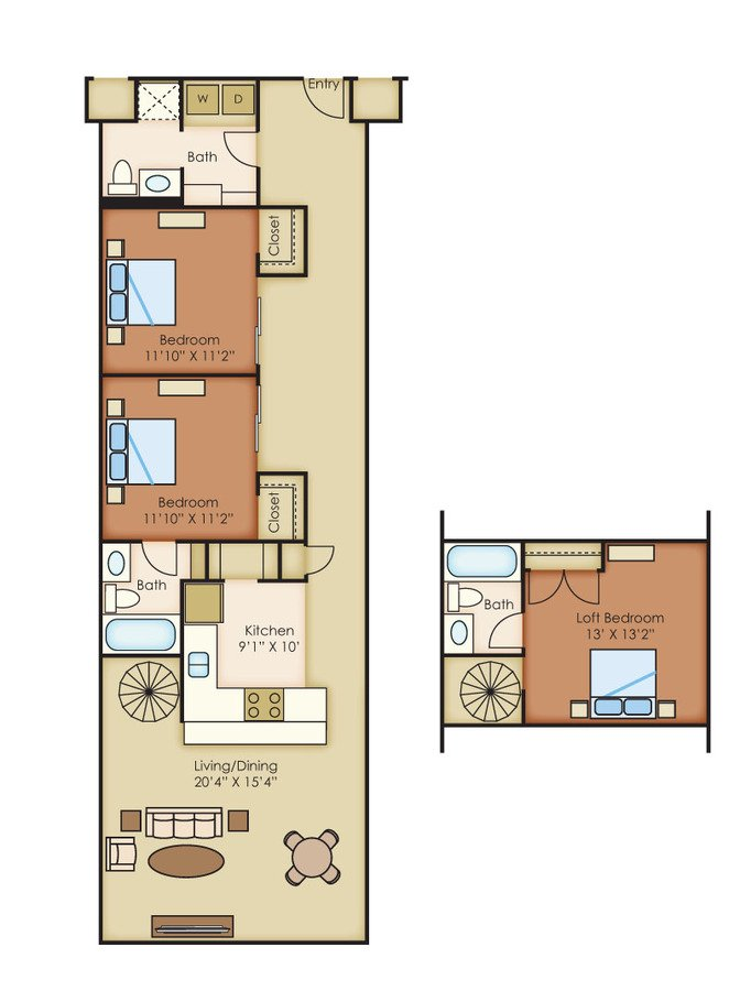 3 Bedrooms 3 Bathrooms Apartment for rent at The Cannery Lofts in Dayton, OH