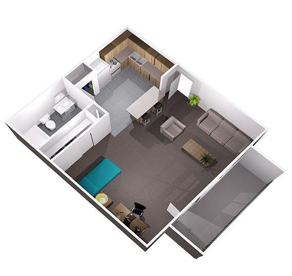 Studio 1 Bathroom Apartment for rent at University Oaks in San Antonio, TX