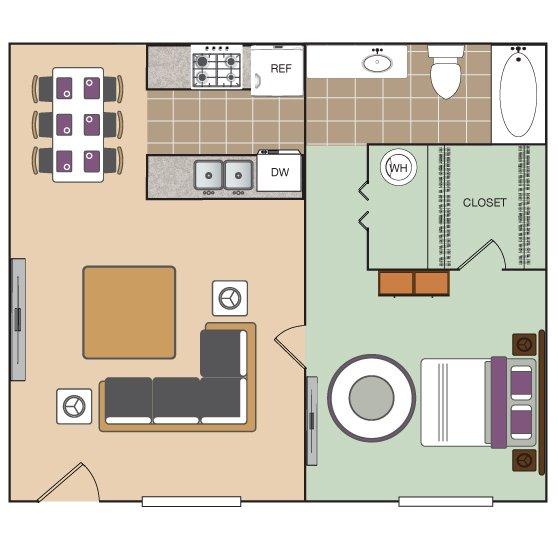 Studio 1 Bathroom Apartment for rent at The Vineyard Apartment Homes in Arlington, TX