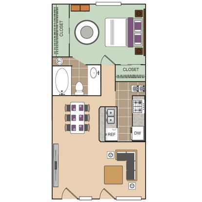 1 Bedroom 1 Bathroom Apartment for rent at The Vineyard Apartment Homes in Arlington, TX