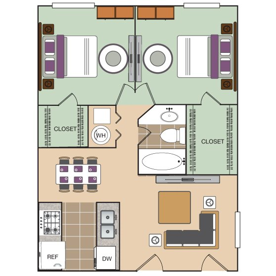 2 Bedrooms 1 Bathroom Apartment for rent at The Vineyard Apartment Homes in Arlington, TX
