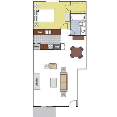 1 Bedroom 1 Bathroom Apartment for rent at Arbor Terrace in Arlington, TX