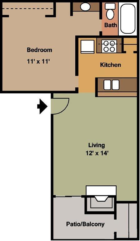 1 Bedroom 1 Bathroom Apartment for rent at Crescent Oaks At Medical in San Antonio, TX