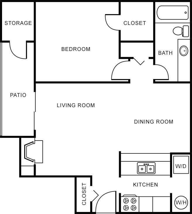 1 Bedroom 1 Bathroom Apartment for rent at Oak Forest Apartments in Arlington, TX