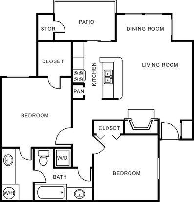 2 Bedrooms 1 Bathroom Apartment for rent at Oak Forest Apartments in Arlington, TX
