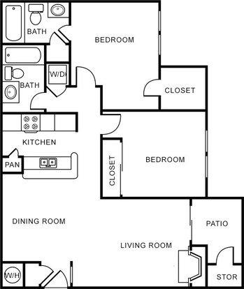 2 Bedrooms 2 Bathrooms Apartment for rent at Oak Forest Apartments in Arlington, TX