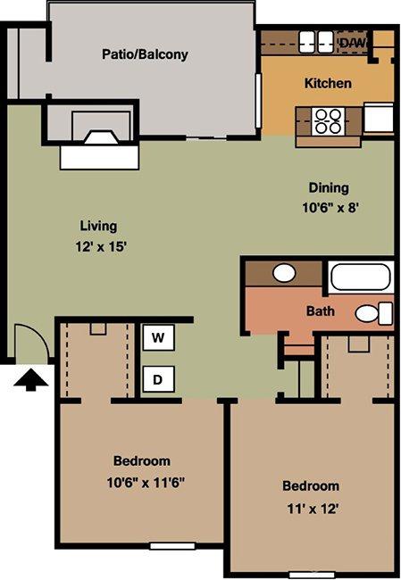 2 Bedrooms 1 Bathroom Apartment for rent at Crescent Oaks At Medical in San Antonio, TX