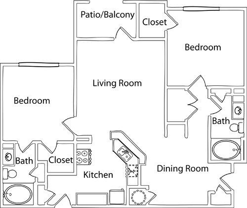 2 Bedrooms 2 Bathrooms Apartment for rent at Hideaway Lake Luxury Apartments in Charlotte, NC