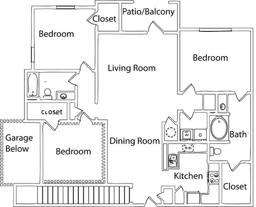 3 Bedrooms 2 Bathrooms Apartment for rent at Hideaway Lake Luxury Apartments in Charlotte, NC