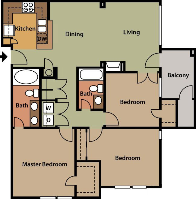 3 Bedrooms 2 Bathrooms Apartment for rent at The Park At Steele Creek Apartment Homes in Charlotte, NC