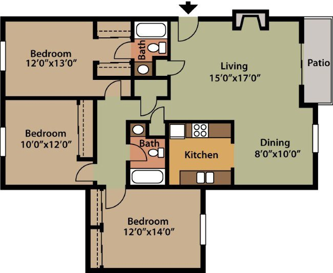 3 Bedrooms 2 Bathrooms Apartment for rent at The Villages At Symmes Crossing in Cincinnati, OH