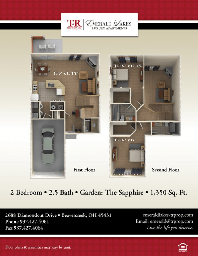 2 Bedrooms 3 Bathrooms Apartment for rent at Emerald Lakes Luxury Apartments in Beavercreek, OH