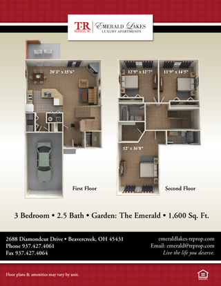 3 Bedrooms 3 Bathrooms Apartment for rent at Emerald Lakes Luxury Apartments in Beavercreek, OH