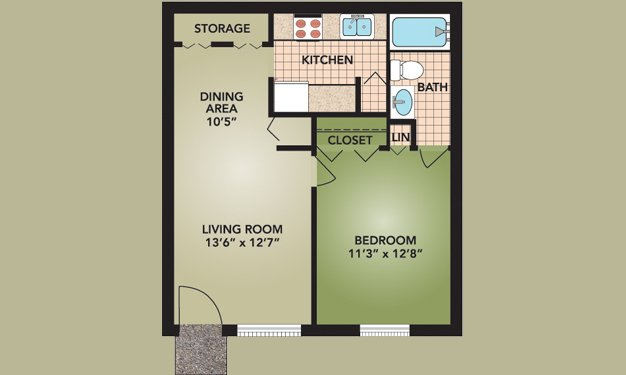 1 Bedroom 1 Bathroom Apartment for rent at Beckley Townhomes in Columbus, OH