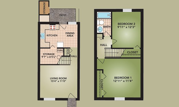 2 Bedrooms 1 Bathroom Apartment for rent at Beckley Townhomes in Columbus, OH