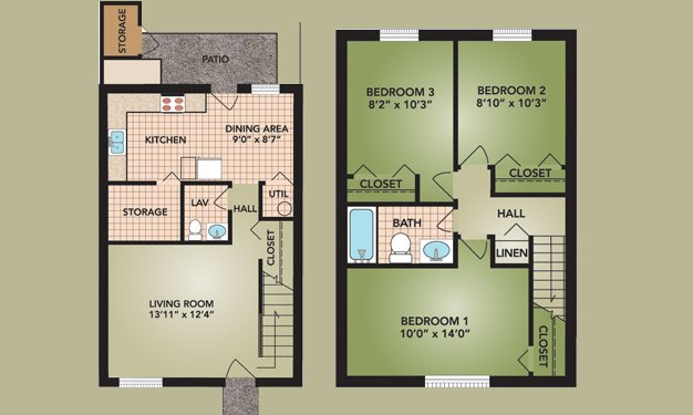 3 Bedrooms 2 Bathrooms Apartment for rent at Beckley Townhomes in Columbus, OH