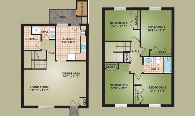4 Bedrooms 2 Bathrooms Apartment for rent at Beckley Townhomes in Columbus, OH