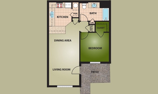 1 Bedroom 1 Bathroom Apartment for rent at Griggs Village in Columbus, OH