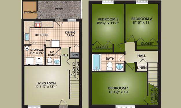 3 Bedrooms 2 Bathrooms Apartment for rent at Indian Mound in Columbus, OH