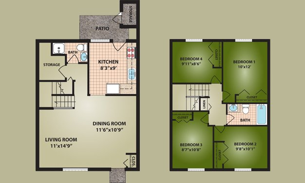 4 Bedrooms 2 Bathrooms Apartment for rent at Norton Village in Columbus, OH
