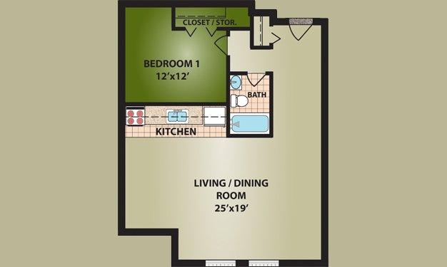 1 Bedroom 1 Bathroom Apartment for rent at Cutter Apartments in Cincinnati, OH