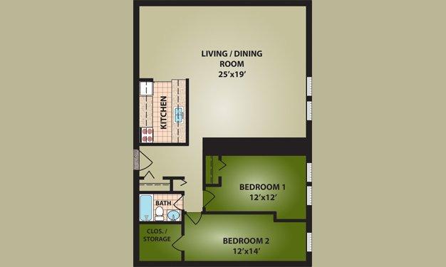 2 Bedrooms 1 Bathroom Apartment for rent at Cutter Apartments in Cincinnati, OH