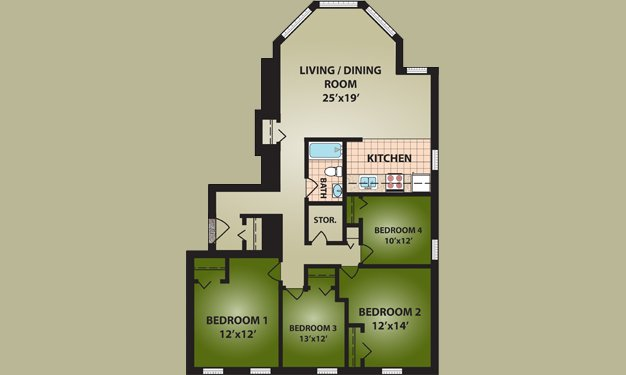 4 Bedrooms 1 Bathroom Apartment for rent at Cutter Apartments in Cincinnati, OH