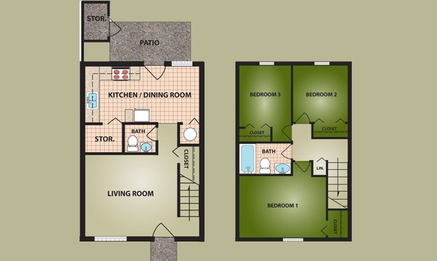 3 Bedrooms 2 Bathrooms Apartment for rent at Greentree Village in Cincinnati, OH