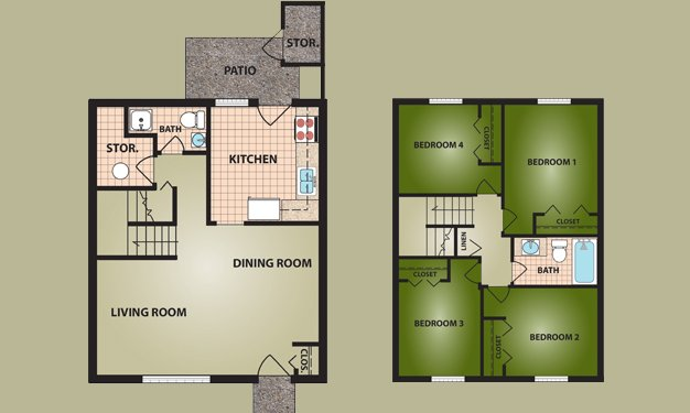 4 Bedrooms 2 Bathrooms Apartment for rent at Greentree Village in Cincinnati, OH
