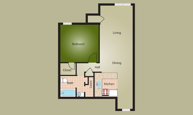 1 Bedroom 1 Bathroom Apartment for rent at Almond Village in Dayton, OH
