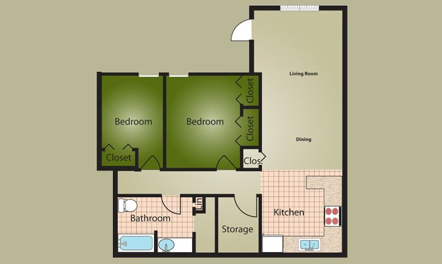2 Bedrooms 1 Bathroom Apartment for rent at Almond Village in Dayton, OH