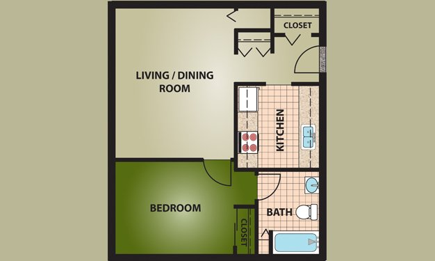 1 Bedroom 1 Bathroom Apartment for rent at C.j. Mclin Apartments in Dayton, OH