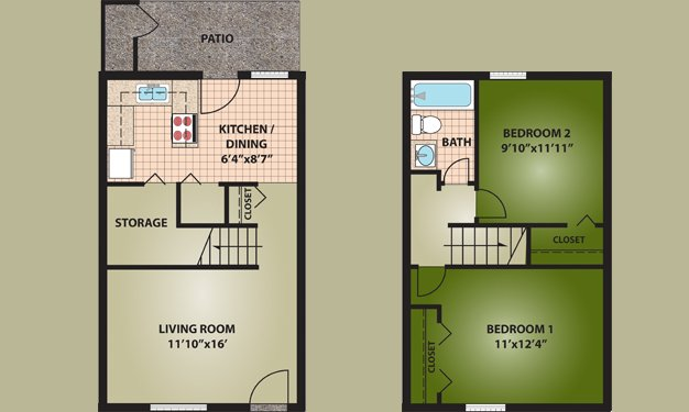 2 Bedrooms 1 Bathroom Apartment for rent at Oakdale Apartments in Dayton, OH