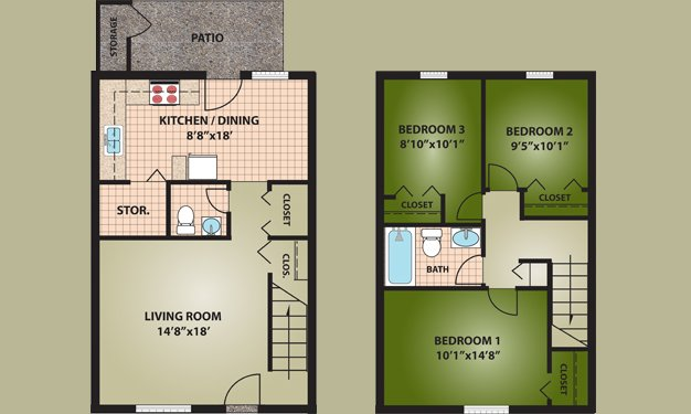 3 Bedrooms 2 Bathrooms Apartment for rent at Oakdale Apartments in Dayton, OH