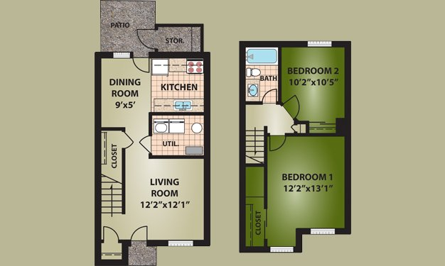 2 Bedrooms 1 Bathroom Apartment for rent at Riverside Commons in Dayton, OH