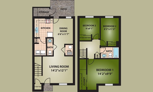 3 Bedrooms 2 Bathrooms Apartment for rent at Riverside Commons in Dayton, OH