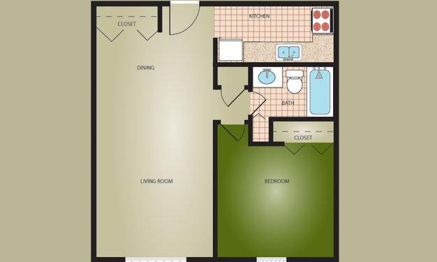 1 Bedroom 1 Bathroom Apartment for rent at Woodside Village in Louisville, KY