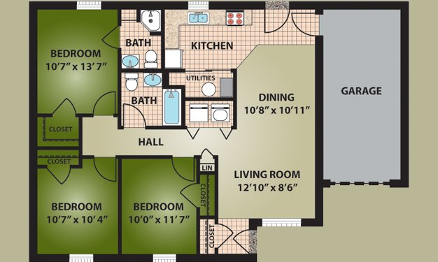 3 Bedrooms 2 Bathrooms Apartment for rent at Garden View Acres in Toledo, OH